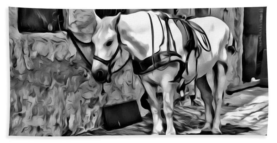 Horse Carriage Untacked Alleyway Black White Bath Sheet featuring the photograph Waiting In The Alleyway by Alice Gipson