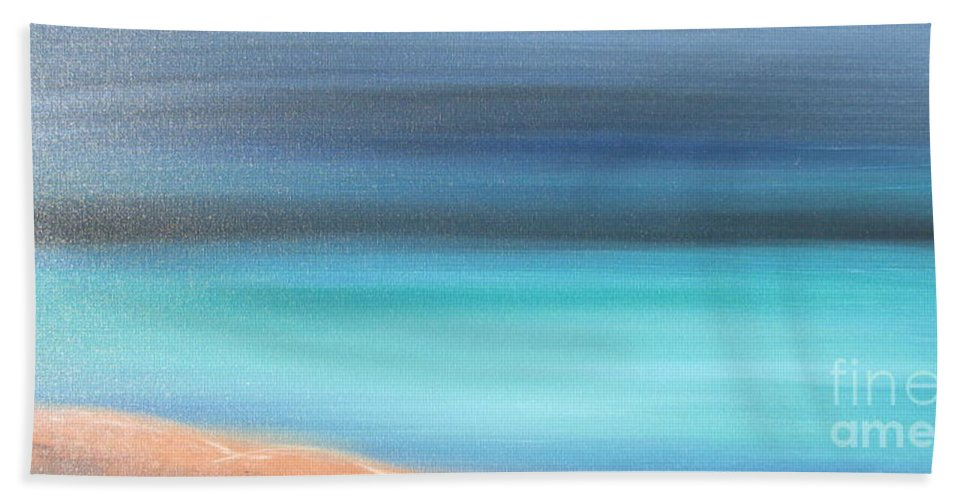 Blue Bath Sheet featuring the painting Waiting by Jacqueline Athmann