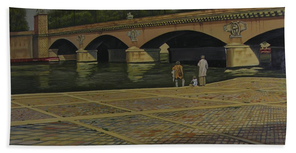 Paris Hand Towel featuring the painting Waiting Paris France by Thu Nguyen