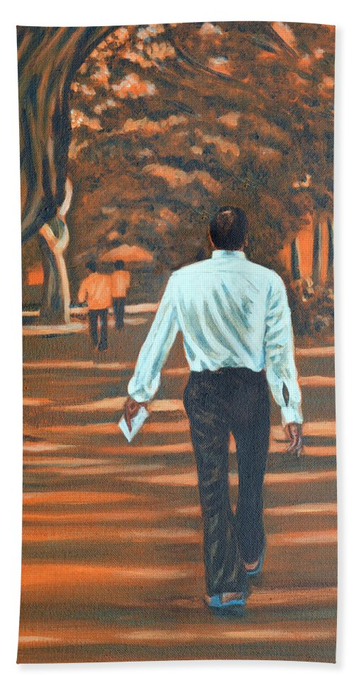Usha Hand Towel featuring the painting Walk In The Woods by Usha Shantharam