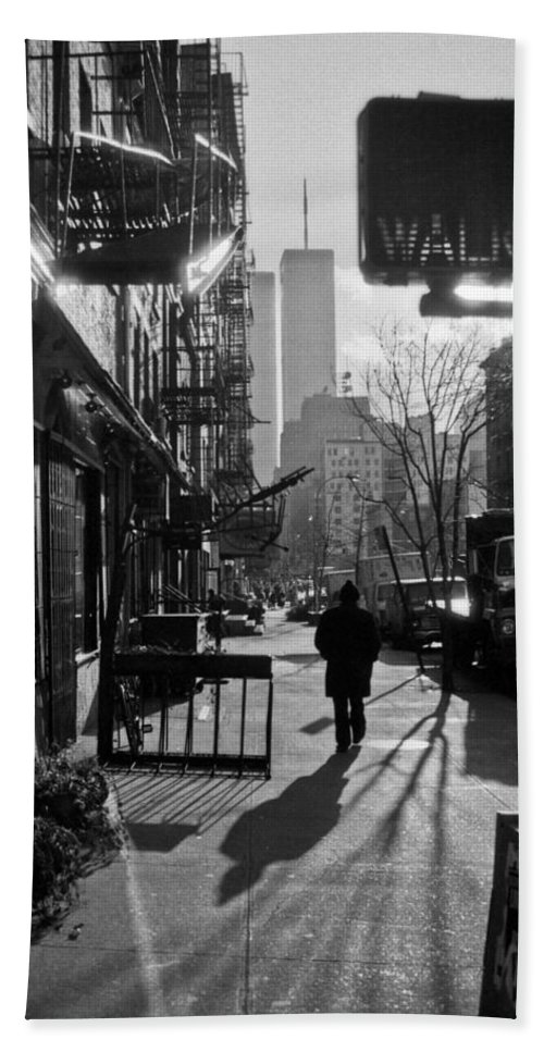Manhattan Hand Towel featuring the photograph Walk Manhattan 1980s by Gary Eason