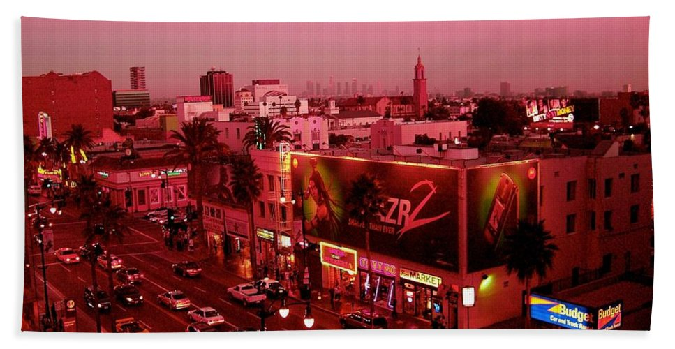 Hollywood Prints Hand Towel featuring the photograph Walk Of Fame In Pink by Monique's Fine Art