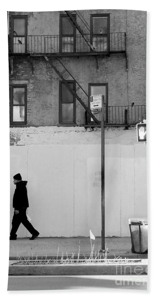 Walk Bath Sheet featuring the photograph Walk Walk. New York. by Miriam Danar
