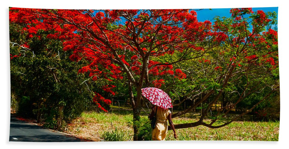 Tropic Bath Sheet featuring the photograph Walking Along The Road. Mauritius by Jenny Rainbow