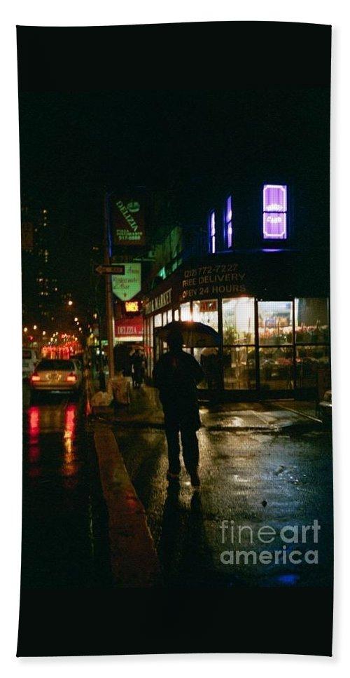 New York Bath Sheet featuring the photograph Walking Home In The Rain by Miriam Danar