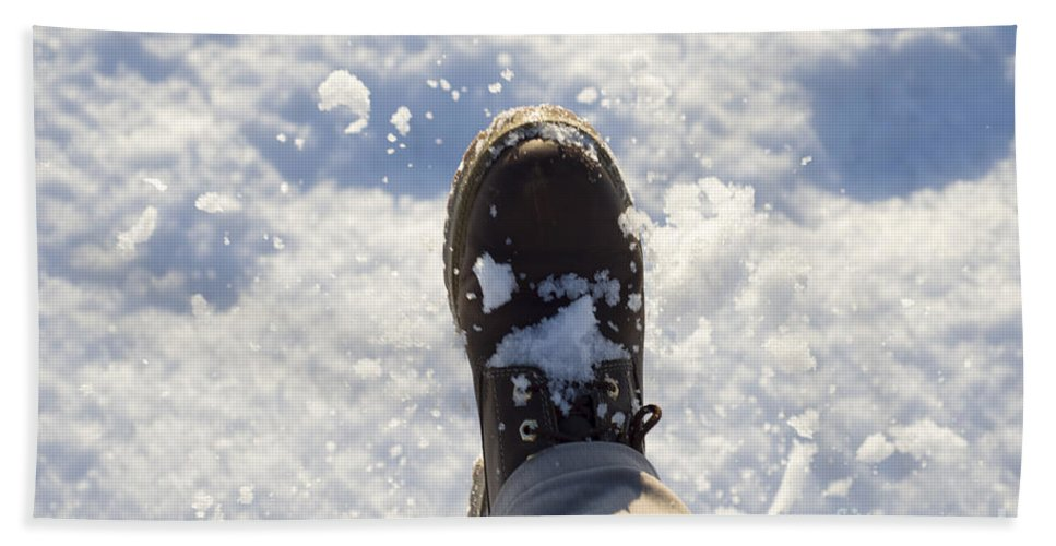 Snow Hand Towel featuring the photograph Walking In The Snow by Mats Silvan