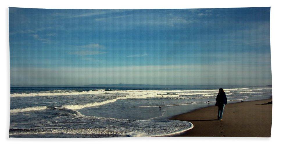 Beach Hand Towel featuring the photograph Walking On Seaside Beach by Joyce Dickens