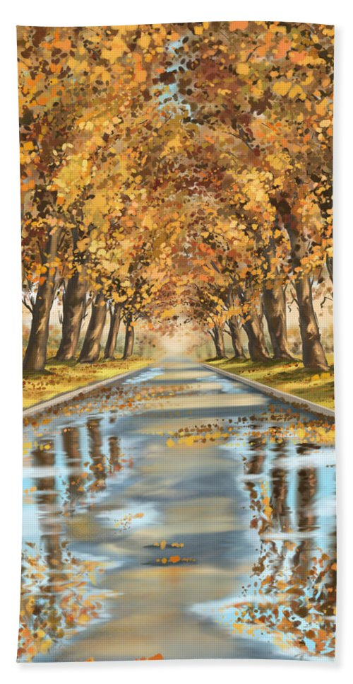 Autumn Bath Sheet featuring the painting Walking by Veronica Minozzi