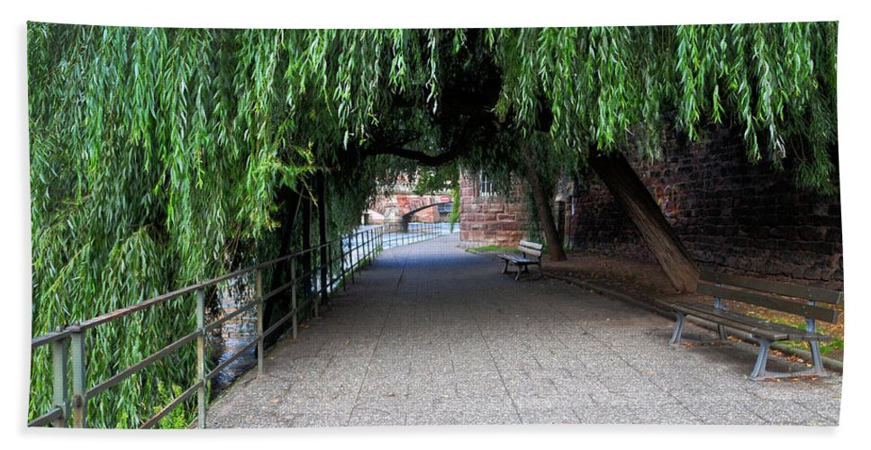 Walkway Bath Sheet featuring the photograph Walkway By The River by Dave Mills
