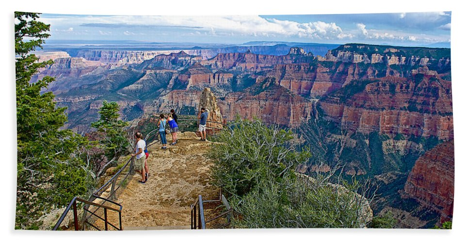 Walkway Out On Point Imperial At 8803 Feet On North Rim/grand Canyon National Park Hand Towel featuring the photograph Walkway Out On Point Imperial At 8803 Feet On North Rim Of Grand Canyon National Park-arizona by Ruth Hager