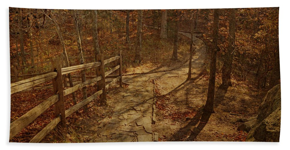 Shawnee National Forest Hand Towel featuring the photograph Walkway Through The Forest by Sandy Keeton