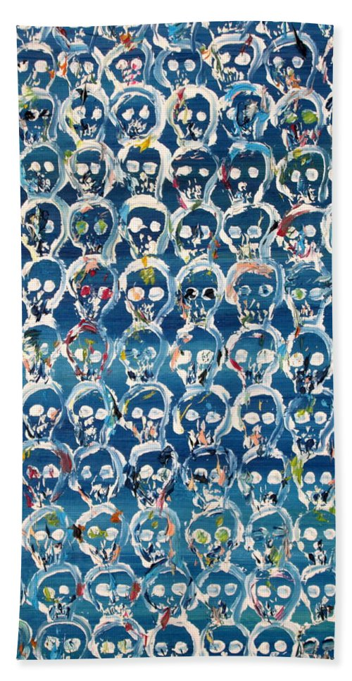Skull Hand Towel featuring the painting Wall Of Skulls by Fabrizio Cassetta