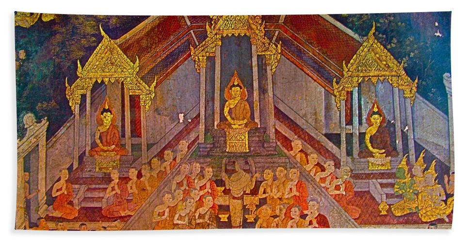 Wall Painting 2 In Wat Suthat In Bangkok Hand Towel featuring the photograph Wall Painting 2 At Wat Suthat In Bangkok-thailand by Ruth Hager