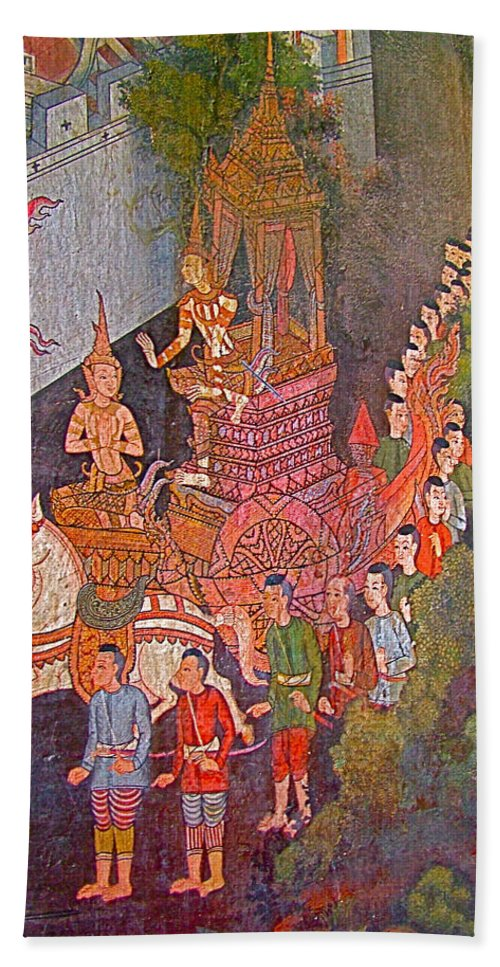 Wall Painting In Wat Suthat In Bangkok Hand Towel featuring the photograph Wall Painting At Wat Suthat In Bangkok-thailand by Ruth Hager