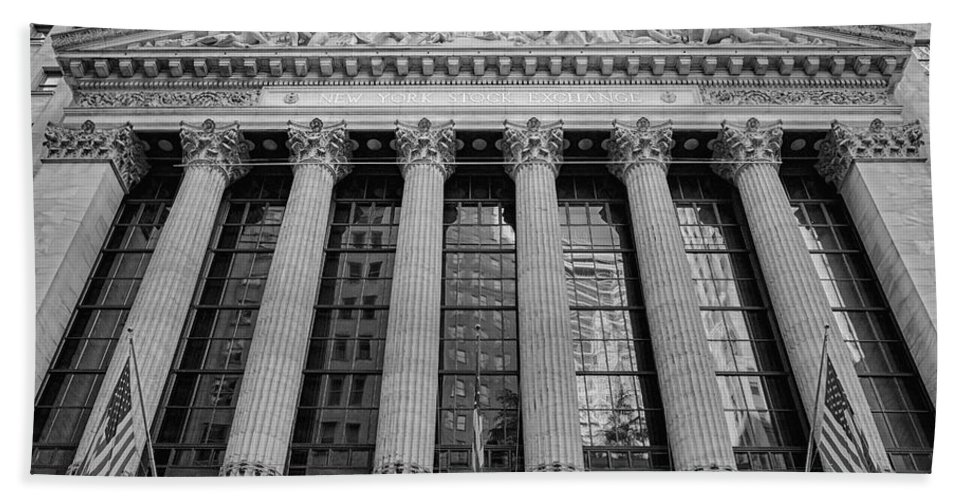 New York Stock Exchange Bath Sheet featuring the photograph Wall Street New York Stock Exchange Nyse Bw by Susan Candelario