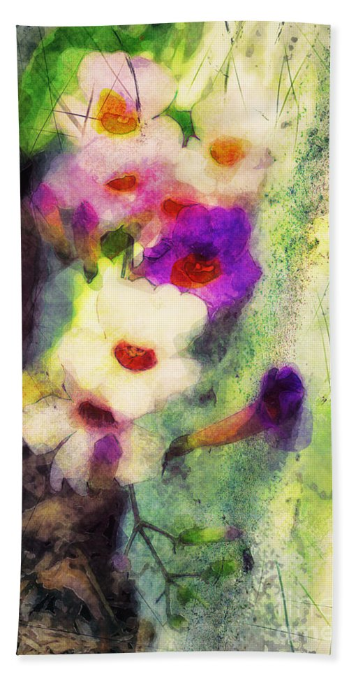 Flowers Bath Sheet featuring the photograph Wallhug by Davy Cheng