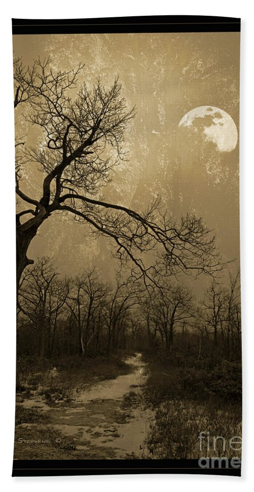 Twisted Bath Sheet featuring the photograph Waning Winter Moon by John Stephens