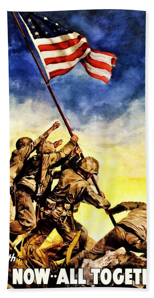Vintage Bath Sheet featuring the photograph War Poster - Ww2 - Iwo Jima by Benjamin Yeager