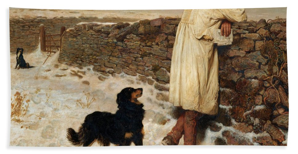 Briton Riviere Hand Towel featuring the painting War Time by Briton Riviere