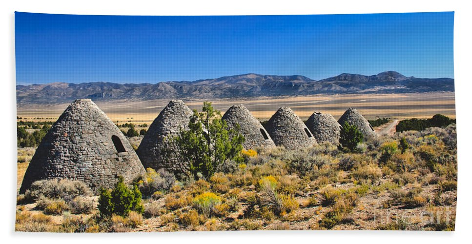 Ward Charcoal Ovens State Historic Park Hand Towel featuring the photograph Wards Charcoal Ovens View by Robert Bales