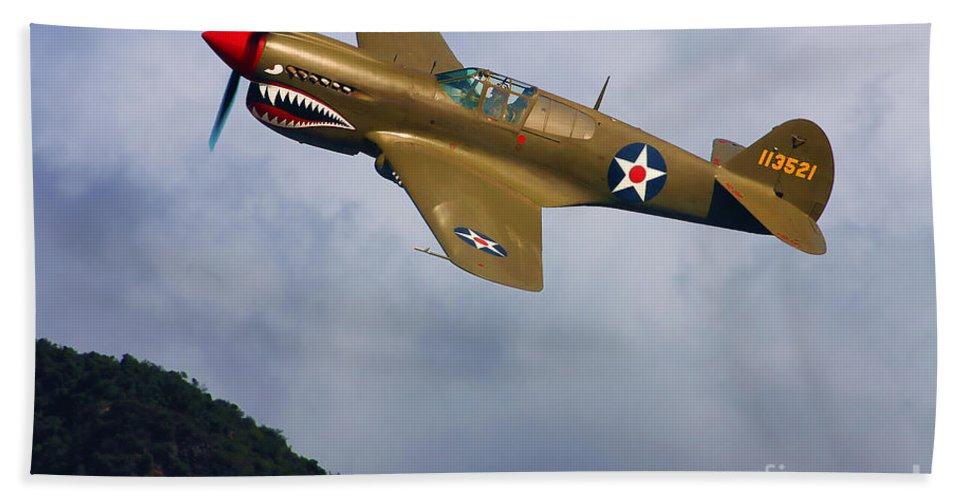 Curtiss Bath Sheet featuring the digital art Warhawk Curtiss P-40 by Tommy Anderson