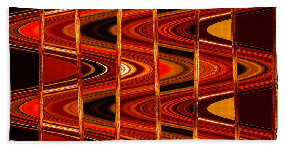 Abstract Bath Sheet featuring the photograph Warm Colors Lines And Swirls Abstract by Carol Groenen