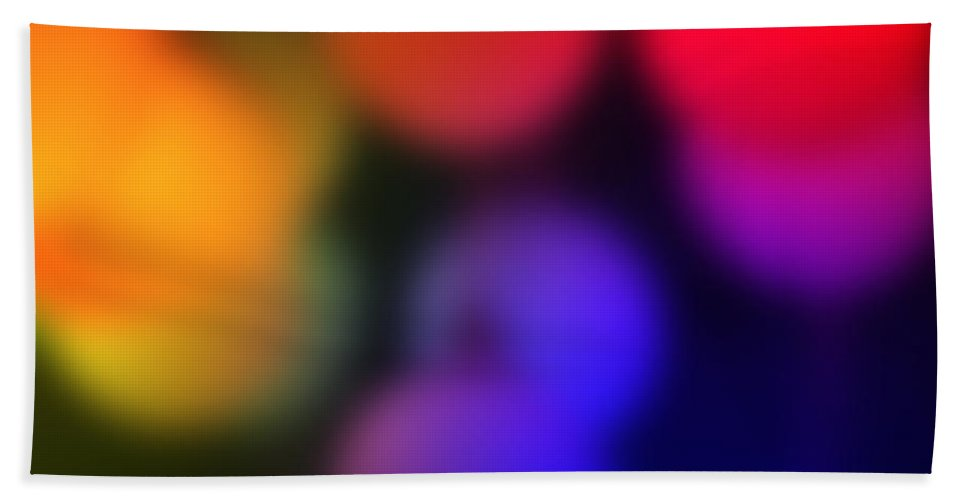Color Colorful Warm Light Lights Photograph Yellow Red Blue Green Digital Art Bubble Bath Sheet featuring the photograph Warm Colors by Steve K