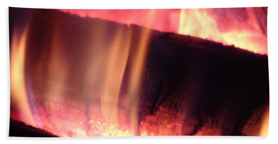 Fire Log Hand Towel featuring the photograph Warm Glowing Fire Log by James Scott Preston