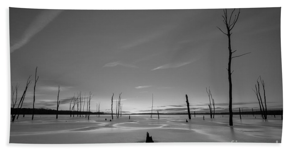 Frost Bite Hand Towel featuring the photograph Warm Ice Bw by Michael Ver Sprill