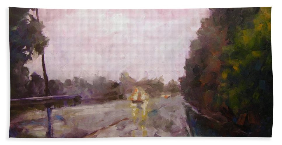 Oil Bath Towel featuring the painting Warm Rain by Mary McInnis