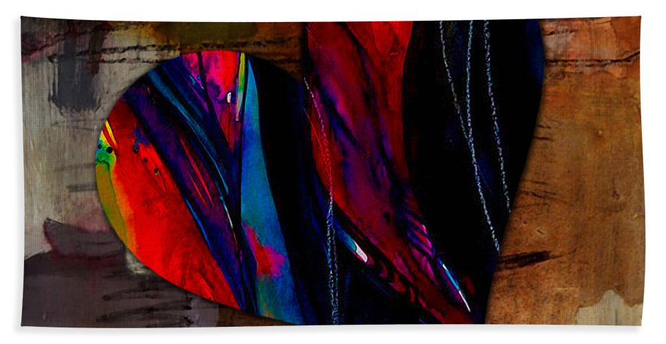 Heart Mixed Media Hand Towel featuring the mixed media Warmth by Marvin Blaine