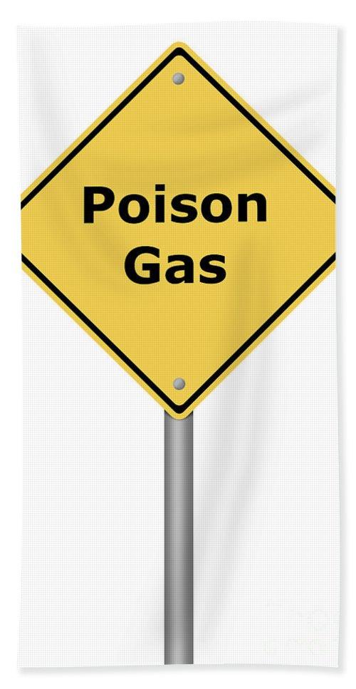 Sign Bath Sheet featuring the digital art Warning Sign Poison Gas by Henrik Lehnerer