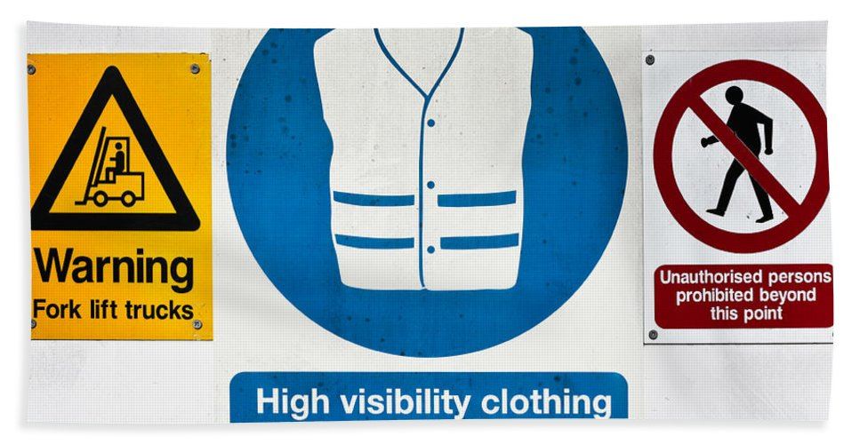 Background Hand Towel featuring the photograph Warning Signs by Tom Gowanlock