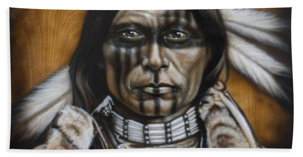 Native American Hand Towel featuring the painting Warpaint by Timothy Scoggins