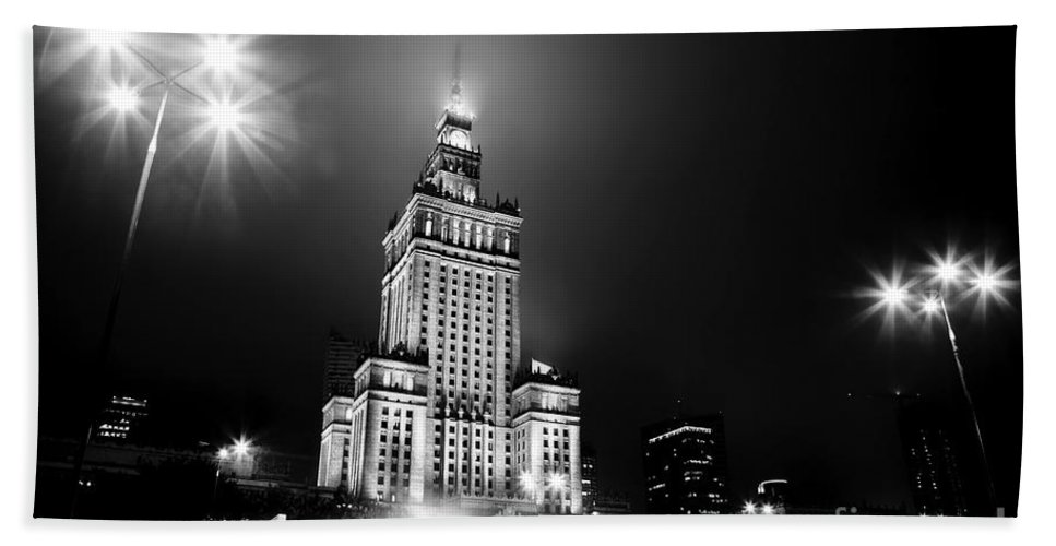 Warsaw Hand Towel featuring the photograph Warsaw Poland Downtown Skyline At Night by Michal Bednarek