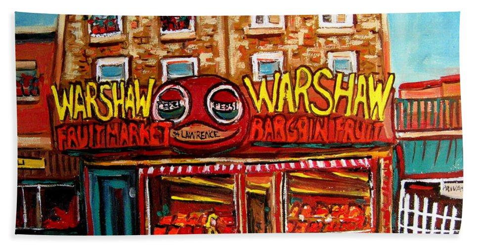 Warshaw's Fruit Market Hand Towel featuring the painting Warshaw's Bargain Fruit Store Rue St Laurent Montreal Paintings City Scene Art Carole Spandau by Carole Spandau