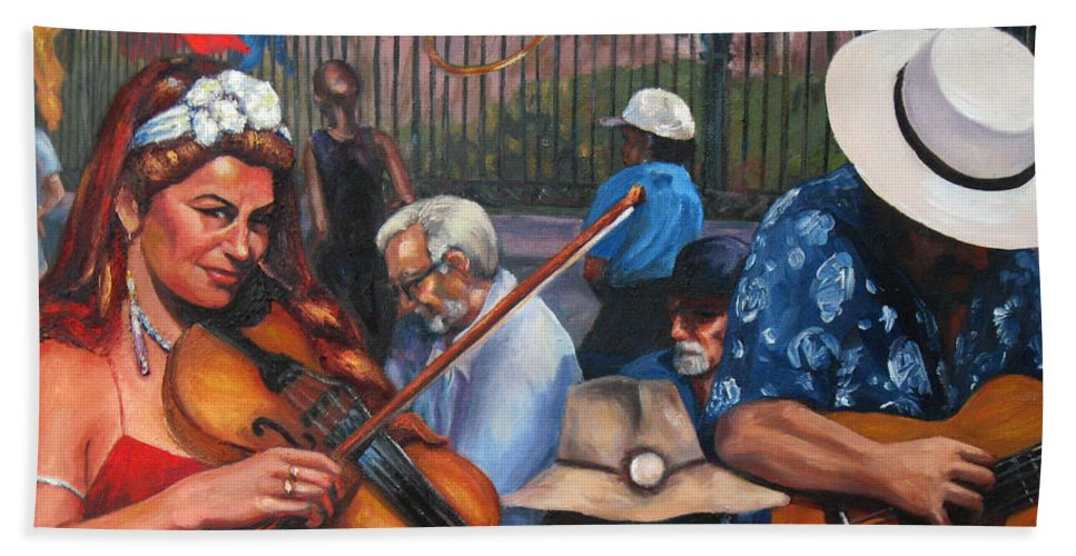 New Orleans Hand Towel featuring the painting Washboard Lissa On Fiddle by Beverly Boulet