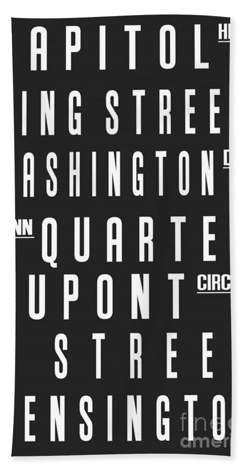Washington Bath Sheet featuring the digital art Washington City Subway Sign by Voros Edit