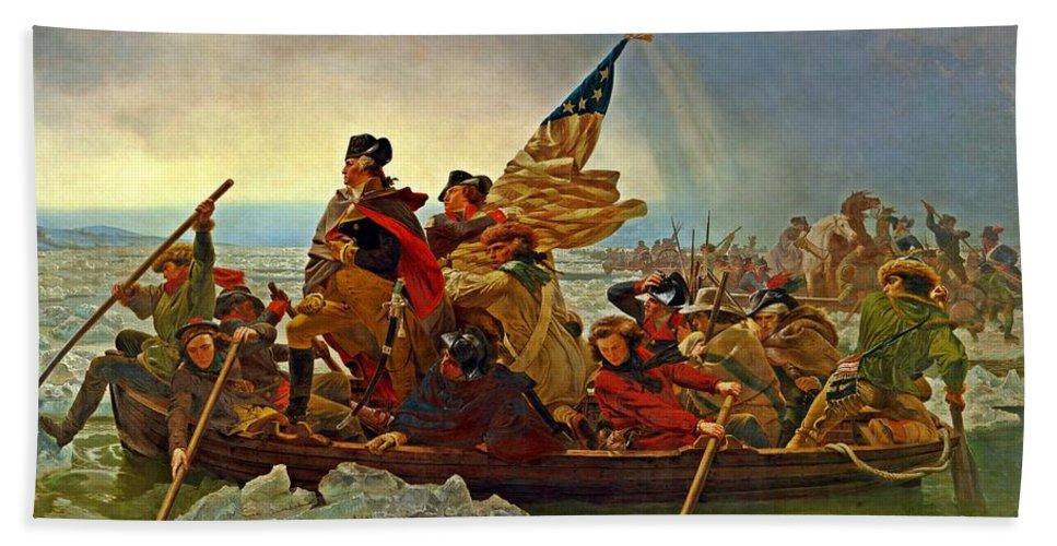 Washington Crossing The Delaware Hand Towel featuring the painting Washington Crossing The Delaware Emanuel Leutze 1851 by Movie Poster Prints