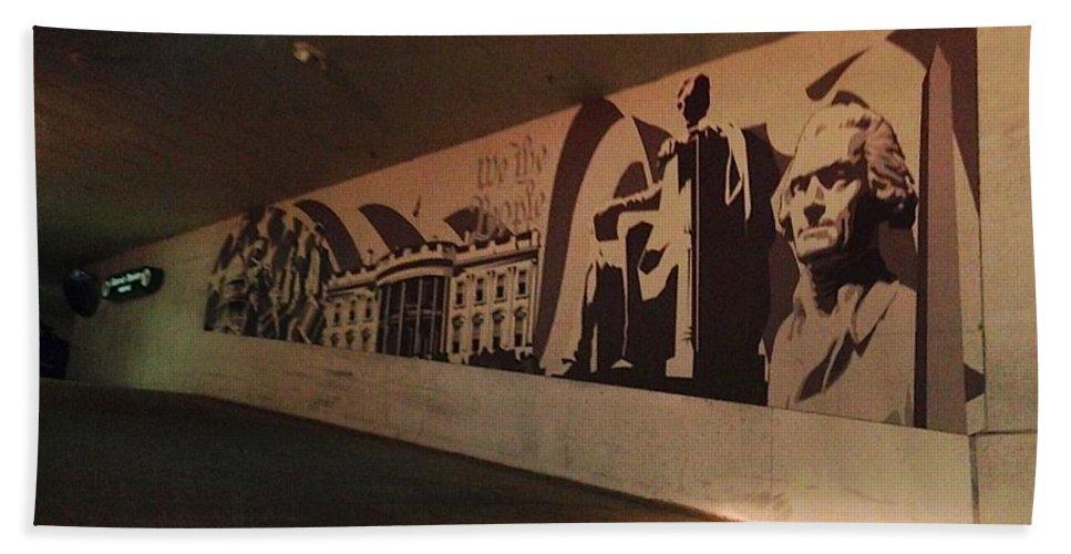 Mural Bath Sheet featuring the photograph Washington Dc Grocery Store Mural by Lois Ivancin Tavaf