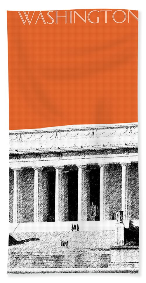 Architecture Hand Towel featuring the digital art Washington Dc Skyline Lincoln Memorial - Coral by DB Artist