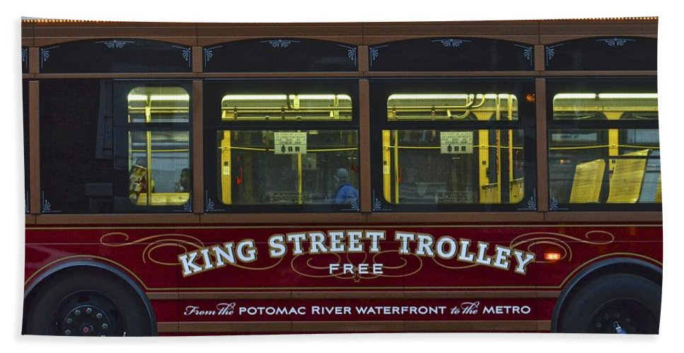 Washington Bath Sheet featuring the photograph Washington Dc Trolley by Frozen in Time Fine Art Photography