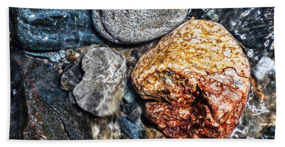 River Hand Towel featuring the photograph Washington River Rock by Anna Burdette