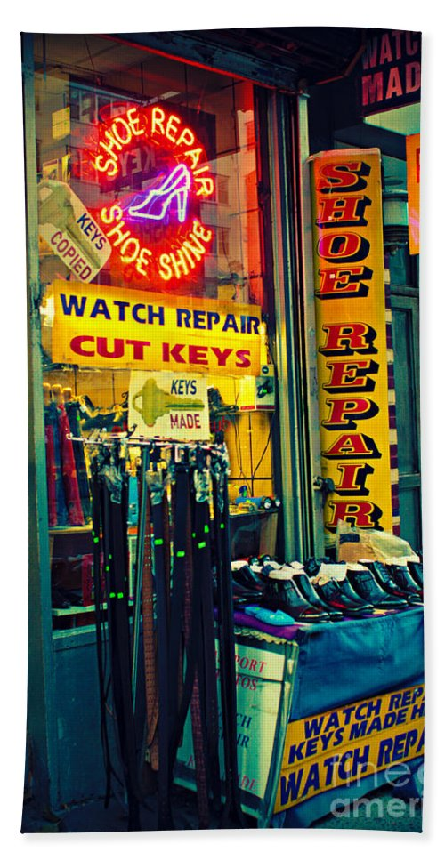 New York Bath Sheet featuring the photograph Watch Repair Shop - Keys Made Here by Miriam Danar