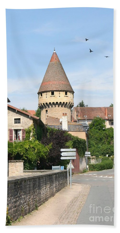 Tower Bath Sheet featuring the photograph Watch Tower In Cluny by Christiane Schulze Art And Photography