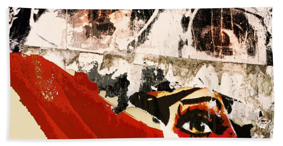 Watchers Bath Sheet featuring the mixed media Watchers by Dominic Piperata