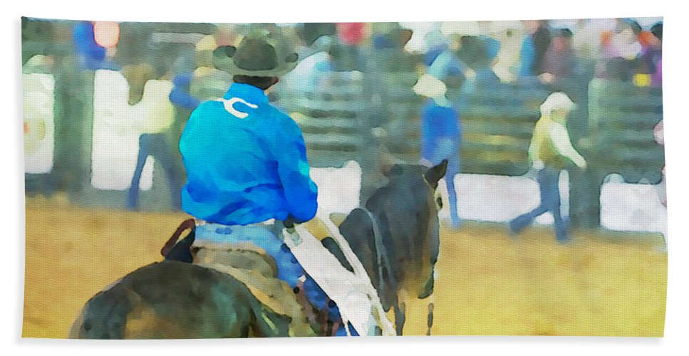 Cowboy Bath Sheet featuring the photograph Watching And Waiting by Alice Gipson