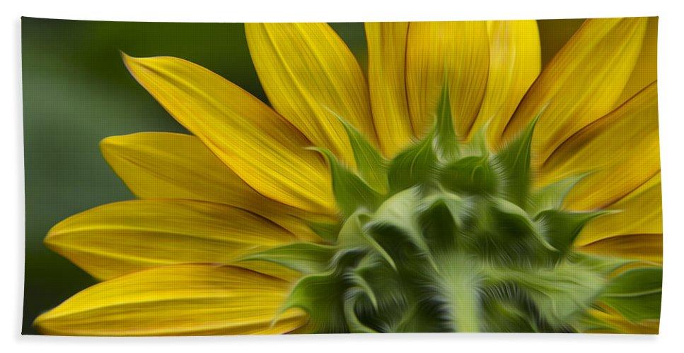 Sunflower Bath Sheet featuring the photograph Watching The Sun by Erika Fawcett