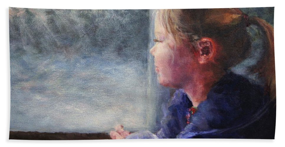 Girl Hand Towel featuring the painting Watching The Sun Rise by Mary Haas