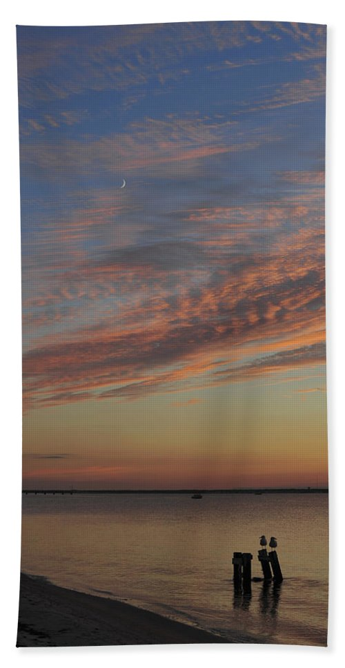 Seaside Park Nj Hand Towel featuring the photograph Watching The Sunset by Terry DeLuco